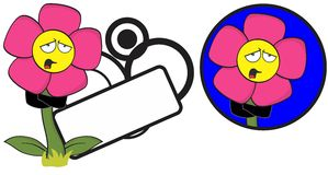 Flower funny cartoon expression copyspace7 Royalty Free Stock Images