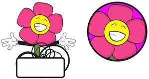 Flower funny cartoon expression copyspace9 Stock Image