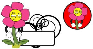 Flower funny cartoon expression copyspace10 Stock Photos