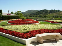 Flower Garden. And Bench in Napa Valley, California royalty free stock images