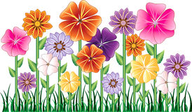 Flower Garden. Vector illustration of a Flower Garden with grass. Easy to move elements Royalty Free Stock Image