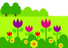 Flower Garden. Illustration of colorful flowers in the garden Royalty Free Stock Photos
