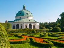 Flower Garden with baroque rotunda in Kromeriz Royalty Free Stock Photo