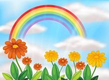 Flower Garden and Beautiful Rainbow vector illustration