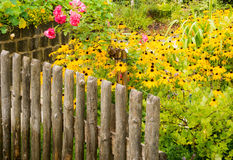 Flower garden. Behind a wooden fence royalty free stock photo