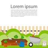 Flower garden bricks, wheelbarrow and watering can tools vector Royalty Free Stock Photo