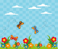 Flower garden with butterflies background Stock Photos