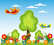 Flower garden with butterflies background Royalty Free Stock Images