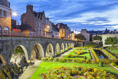 Flower garden at the castle walls in the city Vannes Royalty Free Stock Photo