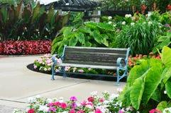 Flower Garden, Eichelman Park, Kenosha, Wisconsin. Beautiful flower garden at Eichelman Park in Kenosha, Wisconsin with a park bench stock images