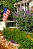 Flower Garden and Flag royalty free stock photos