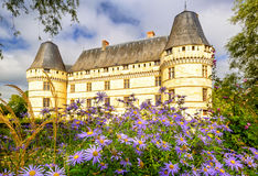 Flower garden in front of the chateau de lIslette, castle in Fr Royalty Free Stock Photography
