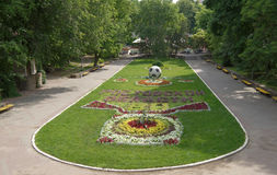Flower garden in the Gorky Park Stock Image