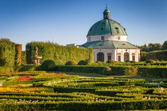 Flower garden in Kromeriz town, Czech republic. stock image