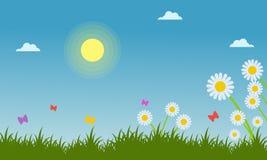 Flower in garden landscape at spring. Illustration Stock Images