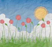 Flower Garden made from recycled paper craft Royalty Free Stock Photography