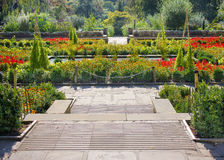 Colorful Flower Garden with Paths Stock Photography