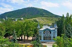 Flower Garden in Pyatigorsk. View of Mount Mashuk and flower garden in the town of Pyatigorsk Stock Photos