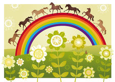 Flower garden with rainbow Royalty Free Stock Image
