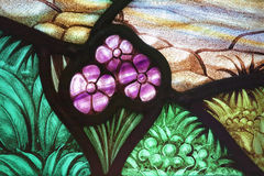 Flower Garden Stained Glass. Flower garden in a stained glass window. From St. Paul's Church (1749), Halifax, Nova Scotia Stock Photo