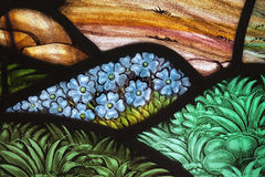Flower Garden Stained Glass. Flower garden in a stained glass window. From St. Paul\'s Church (1749), Halifax, Nova Scotia Royalty Free Stock Photography
