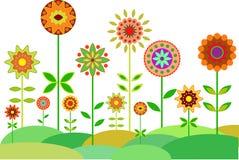 Flower Garden Vector, Garden Illustration Royalty Free Stock Photography