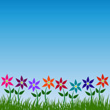 Flower garden vector pattern floral nature background design in spring or summer with colorful flowers green grass leaves and blue Stock Photos