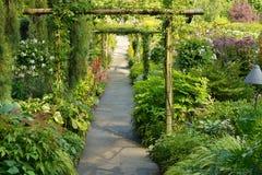 Flower Garden walkway. In Butchart Gardens Royalty Free Stock Photo