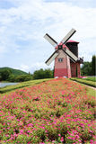 Flower Garden With Windmill Royalty Free Stock Photos