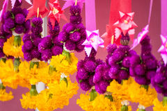Flower garland for hallow holy things or holy objects in Thailan Stock Image