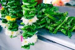 Flower garland for Hindu ceremonies. At Batu Caves temple, Selangor, Malaysia royalty free stock photography