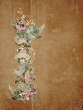 Flower garland on old paper background Royalty Free Stock Image