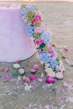 Flower garland and petals Royalty Free Stock Image