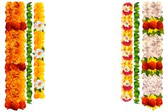 Flower garland rose and leaves for indian traditional holiday ugadi. Isolated on white vector illustration vector illustration