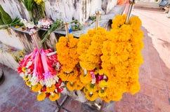 Flower garland sacrificial worship sacred Buddhist faith. Royalty Free Stock Image