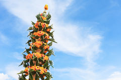 Flower garland and sky Royalty Free Stock Images