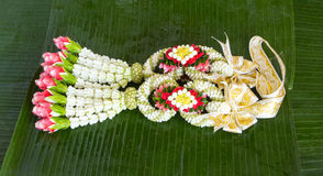 Flower garland thai style. Beautiful flower garlands in Thai tradition style Stock Photography