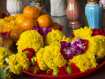 Flower garland on a tray Stock Images