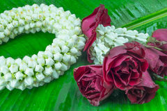 Flower garland used on Mother`s Day and Songkran day in Thai tradition. Fresh flower garland used on Mother`s Day and Songkran day in Thai tradition Stock Photography