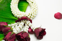 Flower garland used on Mother`s Day and Songkran day in Thai tradition. Fresh flower garland used on Mother`s Day and Songkran day in Thai tradition Stock Photos