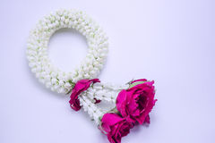 Flower garland used on Mother`s Day and Songkran day in Thai tradition. Flower garland used on Mother`s Day and Songkran day in Thai tradition on isolate white Royalty Free Stock Photo