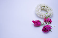 Flower garland used on Mother`s Day and Songkran day in Thai tradition. Flower garland used on Mother`s Day and Songkran day in Thai tradition on isolate white Stock Images