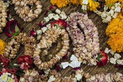 Flower garlands. Background Thai style flower garlands that wither after worship of Buddhism by faith and tradition Royalty Free Stock Photo