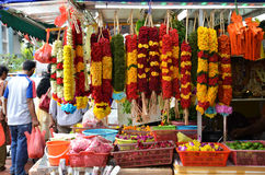Flower garlands and basket of flower used for hinduism religion Stock Photography