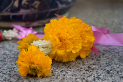 Flower Garlands for Buddhism ceremony Royalty Free Stock Photo