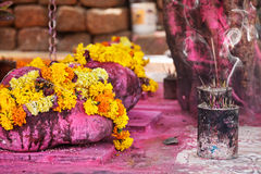 Flower garlands and incense Stock Image