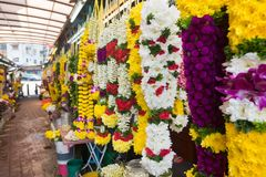 Flower garlands in Little India in Kuala Lumpur. Market stands with colourful flower garlands at a street market in Little India in Kuala Lumpur Stock Photography