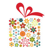 Flower gift. Box with red ribbon  isolated on white background Royalty Free Stock Photography