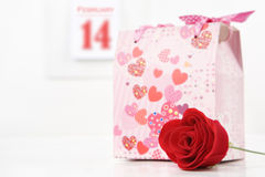Flower and gift on Valentine Royalty Free Stock Photography