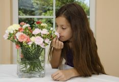 Flower and girl Stock Image